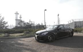 Picture the sky, trees, black, bmw, BMW, shadow, the fence, lights, black, side view, shrub, e60, …
