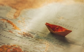 Picture paper, boat, map