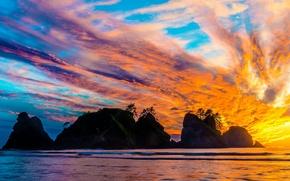 Picture sea, clouds, rocks, glow