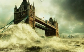Picture London, bridge, flood