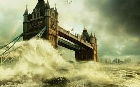 Wallpaper London, bridge, flood