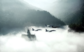 Wallpaper aircrafts in the sky, smoke, morning