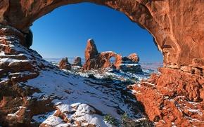 Picture snow, arch, AZ