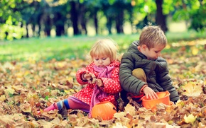 Picture autumn, leaves, children, boy, girl, play, girl, friends, play, Autumn, leaves, Little, friends, children, Boys
