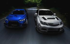 Picture Subaru, Impreza, Mitsubishi, Lancer, Evolution, road, blue, front, silvery, race car, kit, STi