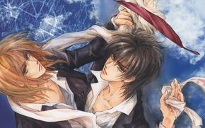 Picture pen, scarf, red, shirt, guys, two, friends, art, blue background, manga, bandage, Mamiya Oki, Demian …