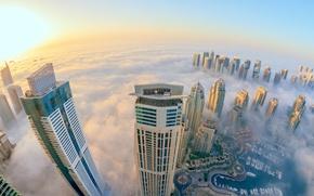 Picture the city, fog, view, skyscrapers, Dubai