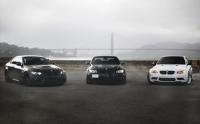 Picture white, bridge, fog, black, bmw, BMW, coupe, white, sedan, black, front view, bridge, e92, e90, …