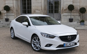 Picture white, Mazda, white, beautiful, sedan
