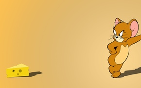 Wallpaper minimalism, Jerry, mouse, mouse, cheese, orange, Tom, yellow
