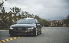 Picture Audi, wheels, black, front, wagon, stance, before