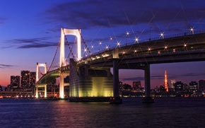 Picture the sky, clouds, sunset, bridge, lights, building, tower, home, the evening, Japan, lighting, Tokyo, lights, …