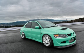 Picture green, turbo, white, wheels, mitsubishi, japan, jdm, tuning, lancer, evolution, evo, front, face, low, stance