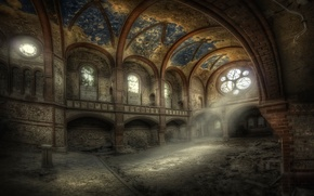 Wallpaper temple, stained glass, ruins, hall