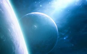 Picture space, stars, planet, satellite, art