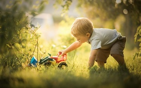 Picture toy, the game, boy, bulldozer
