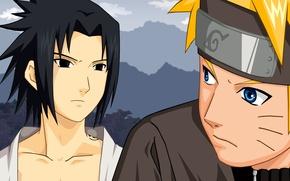 Picture anime, art, guys, Naruto, Sasuke Uchiha, Naruto Uzumaki, rivals