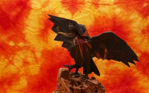Picture paper, background, wings, Raven, origami