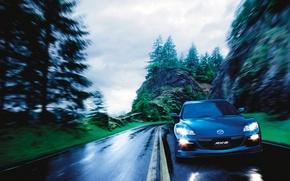 Picture road, rocks, speed, Auto, Mazda RX 8