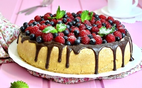Wallpaper berries, raspberry, chocolate, blueberries, mint, cupcake