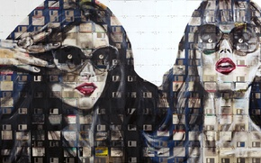 Picture portrait, style, look, floppy-art, art, paint, eyes, emotions, floppy, glasses, girls, floppy art, Nick Gentry, ...