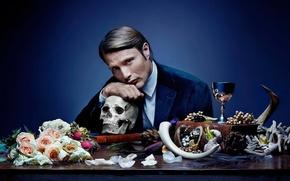 Picture look, flowers, skull, male, actor, Mads Mikkelsen, Mads Mikkelsen
