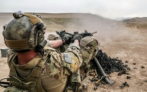 Picture Afghanistan, machine gun, United States Spec Ops
