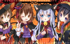 Picture look, girls, mood, holiday, art, Halloween, halloween, girls, costumes, kantai collection, witches, witch, loli