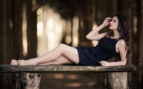 Picture girl, pose, bench, Eloisa