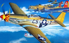Picture figure, Mustang, art, North American, B-17, P-51D
