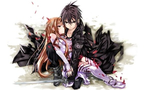 Picture weapons, anime, art, pair, two, Sword Art Online, master of the sword