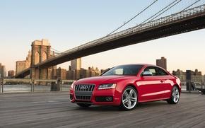 Picture auto, machine, bridge, the city, Audi, building, Auto, Audi, red, cars