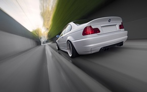 Picture white, bmw, BMW, speed, blur, white, rear view, speed, e46