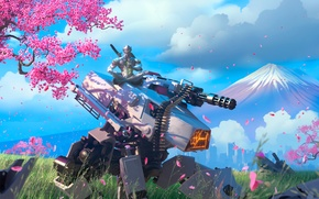 Picture tree, robot, mountain, sword, katana, Sakura, warrior, mask, tank, armor, ninja, Overwatch, Genji Shimada, genji