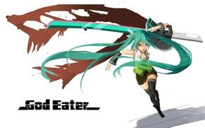 Picture music, girl, sword, blood, game, Hatsune Miku, Vocaloid, soldier, monster, green eyes, anime, beautiful, survivor, …