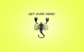 Picture the inscription, minimalism, Scorpio, the phrase, yellow background, scorpion, mortal kombat, get over here