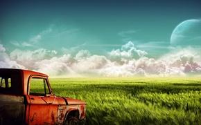 Wallpaper truck, Field, clouds