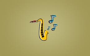 Picture blue, yellow, notes, music, jazz, Saxophone, jazz, saxophone, Sax