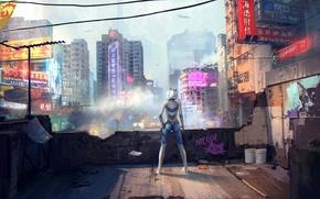 Picture girl, the city, graffiti, advertising, art, characters, helmet, ears, back, sergey zabelin