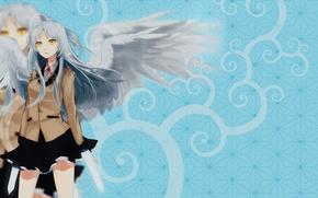 Picture wings, anime, schoolgirl, long hair, white hair, wings, angel beats, angel beats