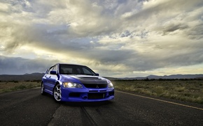 Picture road, clouds, blue, front view, mitsubishi, blue, Mitsubishi, Lancer evolution, VIII, lancer evolution