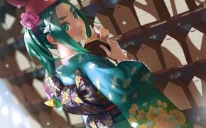 Picture spinner, signs, hairstyle, kimono, green hair, art, Bakemonogatari, History of monsters, Vofan, Yotsugi Ononon The