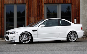 Picture white, asphalt, tuning, the building, bmw, BMW, door, white, drives, side view, g-power, e46, Mr. …