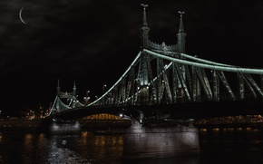Picture the moon, bridge, Budapest, night, river