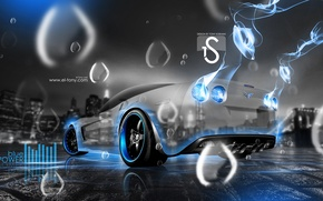 Picture Corvette, Chevrolet, Blue, Rain, Neon, Crystal, el Tony Cars