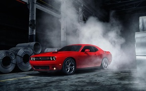 Picture Muscle, Dodge, Challenger, Red, Car, Front, Smoke, American, Ligth