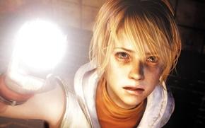 Picture look, girl, light, face, blonde, lantern, Horror, Heather Mason, Silent Hill 3, KONAMI