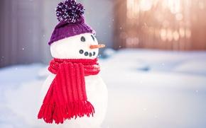 Wallpaper snowman, New Year, snow, Merry, Christmas, Christmas, decoration, winter
