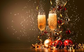 Wallpaper balls, glasses, drink, tinsel, champagne, bells, Christmas decorations