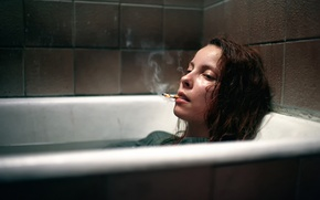 Picture girl, cigarette, bath